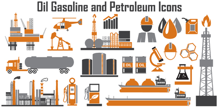 Oil platform design concept set with petroleum flat icons isolated vector illustration  イラスト・ベクター素材
