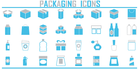 Packaging box icon vector shipping set.  イラスト・ベクター素材