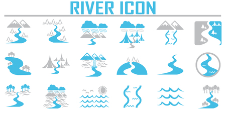 River  and Landscape icons.  イラスト・ベクター素材