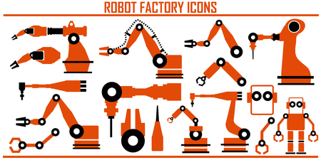 robot factory icons vector illustration.  イラスト・ベクター素材