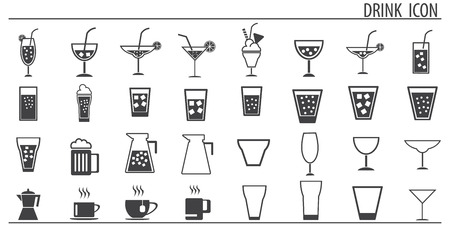 Icons Drink Vector Set.