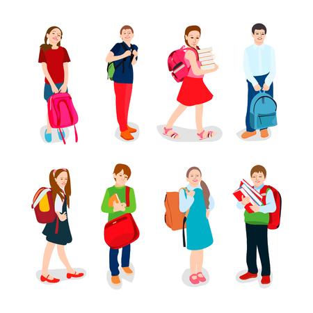 nette Schüler in Schuluniform mit Rucksack und Bücher