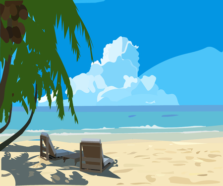 Tropical beach, lounge chair, vector background Illustration
