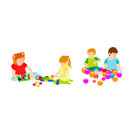 cute children in the kindergarten playing with toys