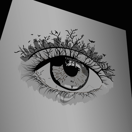 ojo de la silueta en forma de paisaje. ilustración vectorial