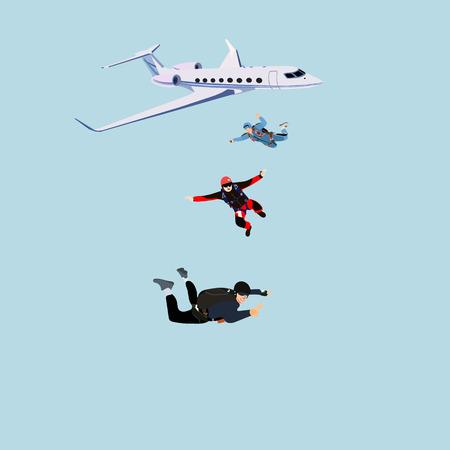 parachutist: Plane paratroopers vector illustration