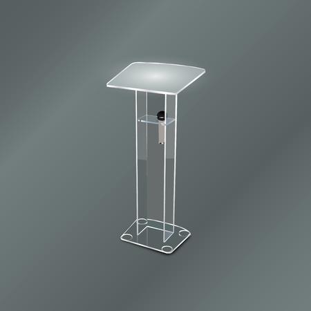 tribune: White Podium Tribune Rostrum Stands with Microphones on transparent background