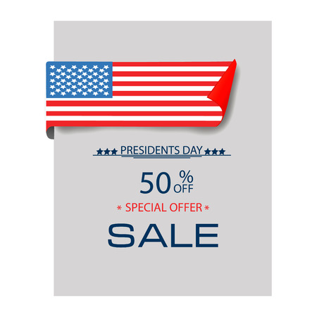 Presidents Day Sale, USA National Flag. Background flat design