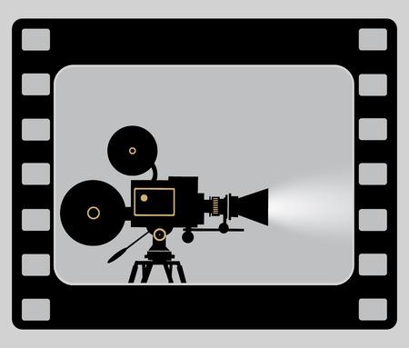 Old style movie camera flat icon. Retro Cinema projector. Stock Illustratie