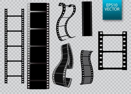 Ensemble de bande de film de vecteur isolé sur fond transparent.