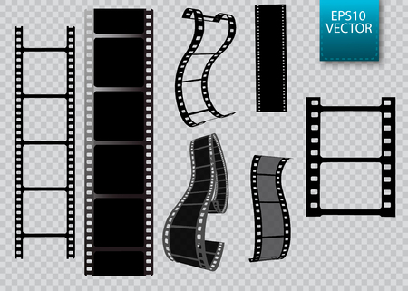 Set of vector film strip isolated on transparent background. Stock Illustratie