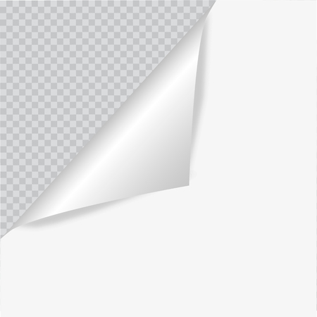 metalic sheet: Blank sheet of paper with page curl and shadow, design element for advertising and promotional message isolated on white background. EPS 10 vector illustration.