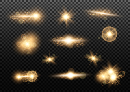 Set. Shining star, the sun particles and sparks with a highlight effect, golden bokeh lights glitter and sequins. On a dark background transparent. Vector, EPS10