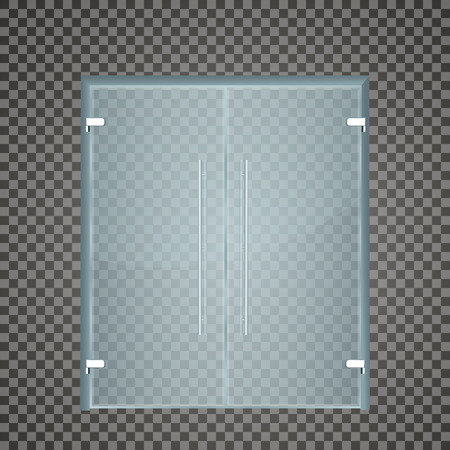 simple store: Glass door isolated on transparent background. Vector illustration Illustration