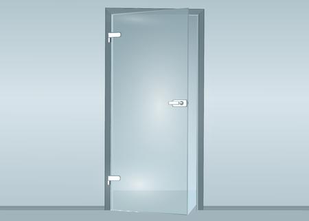 shopfront: Glass door isolated on transparent background. Vector illustration Illustration