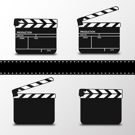 Realistic clapper.cinema.Board on a white background.film.time.vector illustration. Illustration