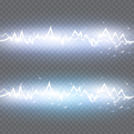 Energy shock effect with many glowing particles. Electric discharge on transparent background. Vector illustration