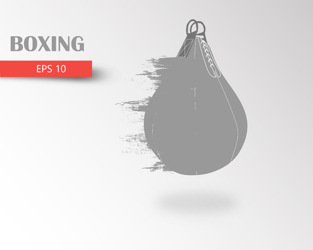 Punching bag from particles. Background and text on a separate layer, color can be changed in one click. Boxer. Boxing. Boxer silhouette Illustration