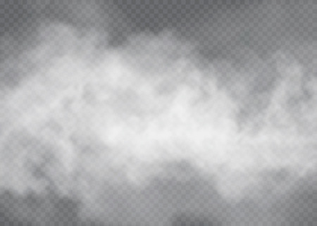 Effet spécial transparent isolé de brouillard ou de fumée. Fond blanc, nébulosité ou smog vecteur blanc. Illustration vectorielle