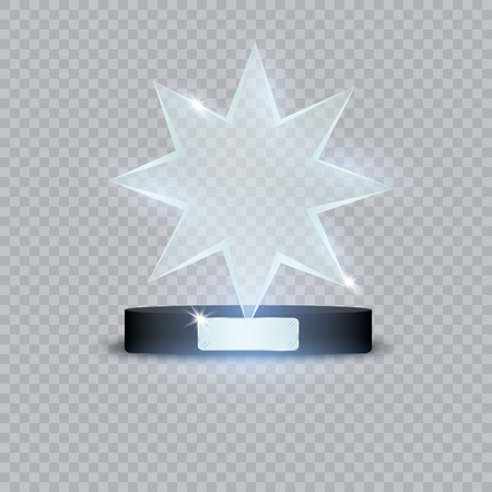 Set Of Glass Trophy Award. Vector illustration isolated on transparent background