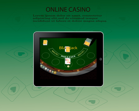 Online casino design poster banner. Tablet with poker chips and cards on table. Casino gambling background, poker mobile app