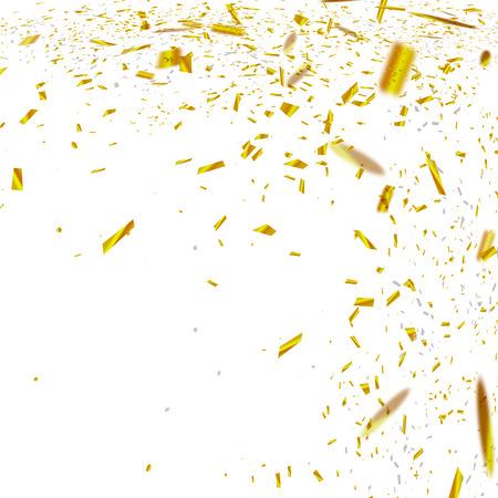 金色の紙吹雪。透明な市松模様の背景に分離落下の光沢のある紙吹雪のベクトルお祝いイラスト。設計のホリデー装飾的な見掛け倒し要素