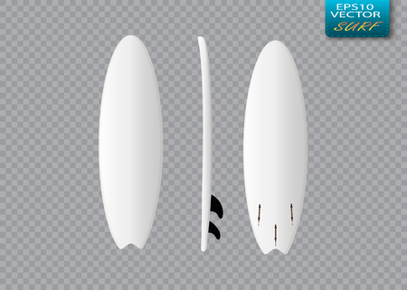 front view: White vector surfing board template: longboard