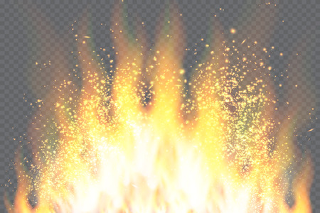 burning: Burning fire isolated. Vector fire flame special light effect. Illustration