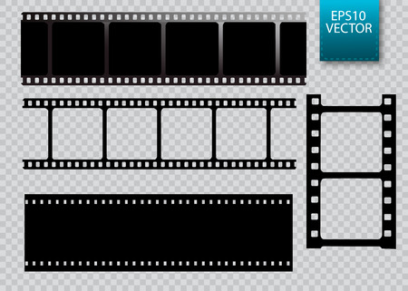 Set of vector film strip isolated on transparent background. Çizim