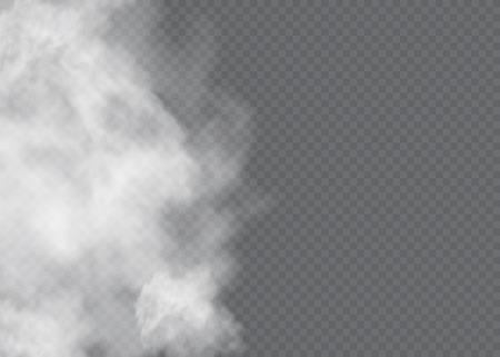 안개 또는 연기 격리 된 투명 효과. 흰색 벡터 흐림, 안개 또는 스모그 배경입니다. 벡터 일러스트 레이 션