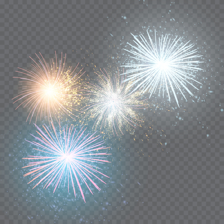 set of isolated vector fireworks on a transparent background.