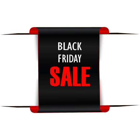 Black realistic curved paper banner. Ribbon. Black friday sale. Vector illustration Reklamní fotografie - 83097730