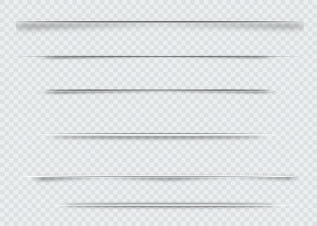 Dividers geïsoleerd op transparante achtergrond. Schaduwverdelers. Vector illustratie