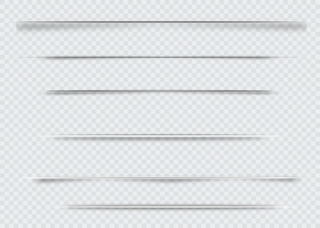 Dividers isolated on transparent background. Shadow dividers. Vector illustration