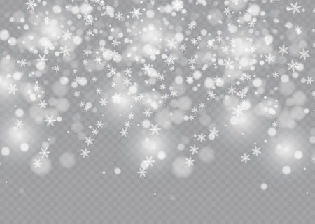 Vector falling snow effect isolated on transparent background with blurred