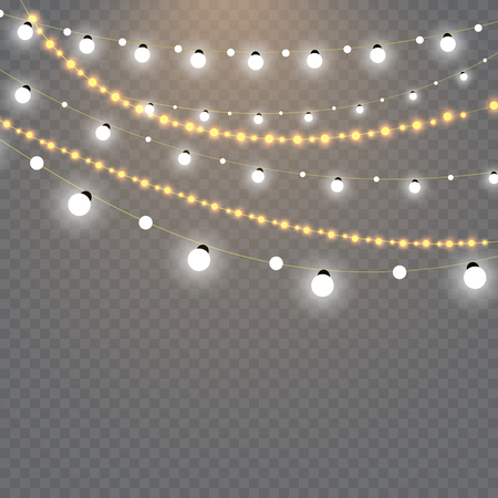 Christmas lights isolated on transparent background. Set of golden xmas glowing garland.