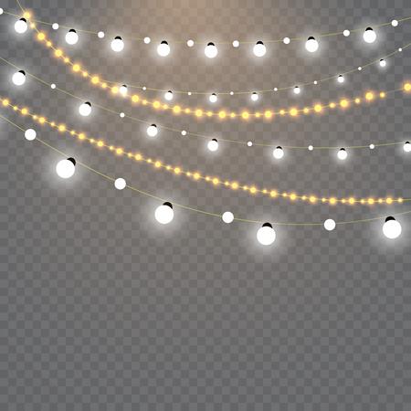 Kerstverlichting geïsoleerd op transparante achtergrond. Set van gouden xmas gloeiende garland. Vector Illustratie
