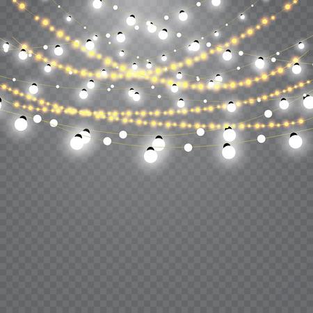 Luzes de Natal isoladas no fundo transparente. Conjunto de guirlanda de incandescência de Natal dourado.