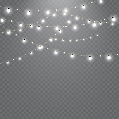 Weihnachtslichter lokalisiert auf transparentem Hintergrund . Satz goldene glänzende Blumengirlande