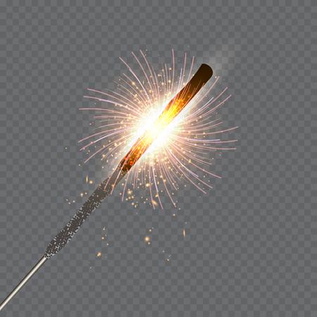 Festive Christmas sparkler set on transparent background.