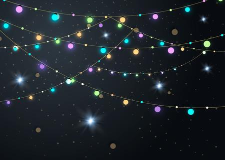 Christmas lights on transparent background.