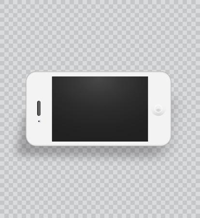 White smart phone with blank screen in realistic style, vector illustration.