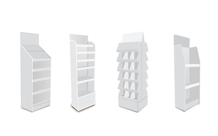 White Long Blank Empty Showcase Displays With Retail Shelves. 3D Products On White Background Isolated. Çizim
