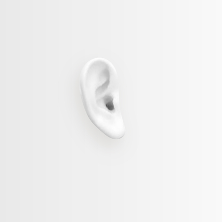 Take care of your hearing. Background with realistic ear. Vector illustration. Ilustração