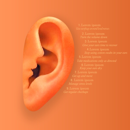 Take care of your hearing. Background with realistic ear. Vector illustration. Illustration