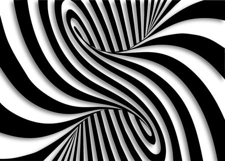 Fond horizontal d'illusion d'optique de lignes noires et blanches