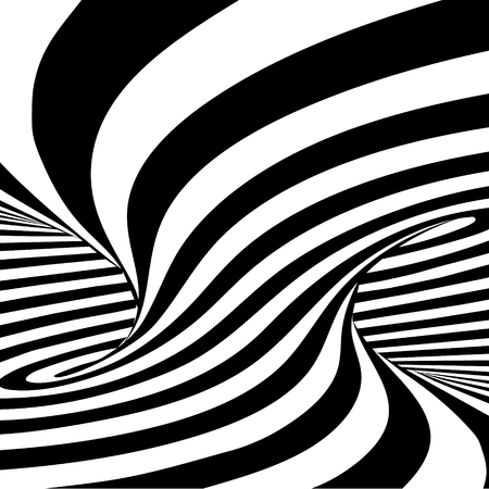 Black and white lines optical illusion horizontal background Illustration