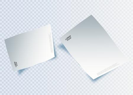 Hoja de papel en blanco con página curvada y sombra, elemento de diseño para publicidad y mensaje promocional aislado sobre fondo blanco. Ilustración vectorial EPS 10.