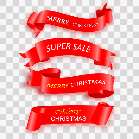 Merry Christmas celebration background with red realistic ribbon banner and snow. Vector illustration Stock Vector - 113828182