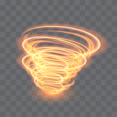 A glowing tornado. Rotating wind. Beautiful wind effect. Isolated on a transparent background. Vector illustration. Иллюстрация